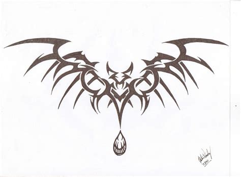tribal bat tattoos tribal bat take three by lordnightwalker