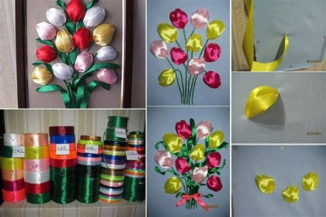 Easy Handmade Decorations - diy easy ribbon tulip flower home design garden