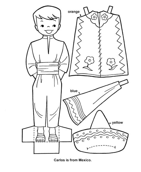 Printable Cutout Paper Doll Sheet Hispanic Heritage Art Hispanic Heritage Month Coloring Pages