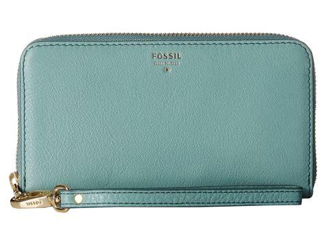 Fossil Wallet fossil sydney zip phone wallet in blue lyst
