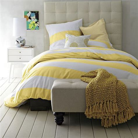 yellow and white bedding striped duvet cover and shams in white citron