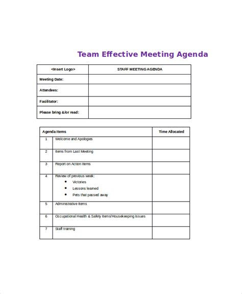 effective meeting agenda template 10 free word pdf