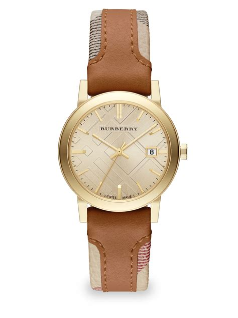 Burberry Gold burberry city goldtone stainless steel haymarket leather in brown lyst