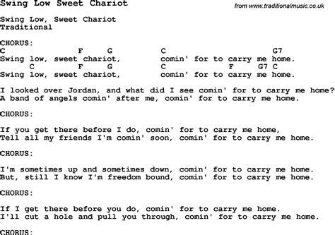 swing chariot lyrics traditional song swing low sweet chariot with chords tabs