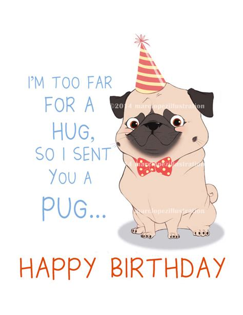 pug saying happy birthday pug birthday card approximately 5 x 7 blank by marclopez pets we