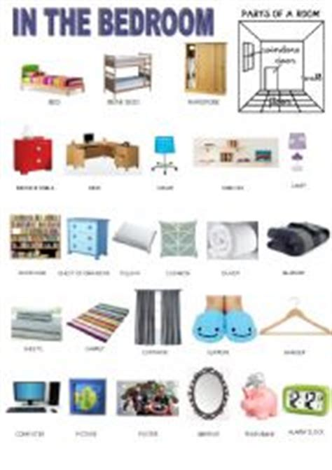 bedroom objects in spanish parts of the house in spanish english worksheets rooms