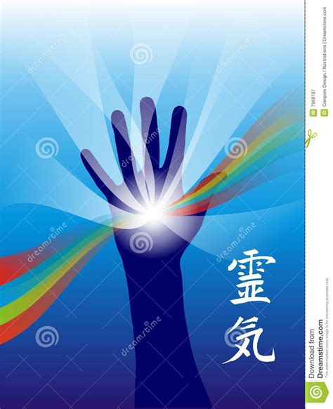 reiki healing hand stock vector illustration  chakra