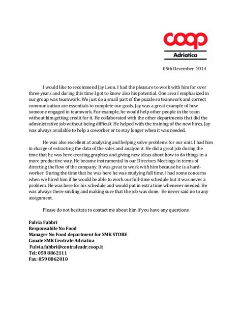 co op letter of recommendation recommendation letter