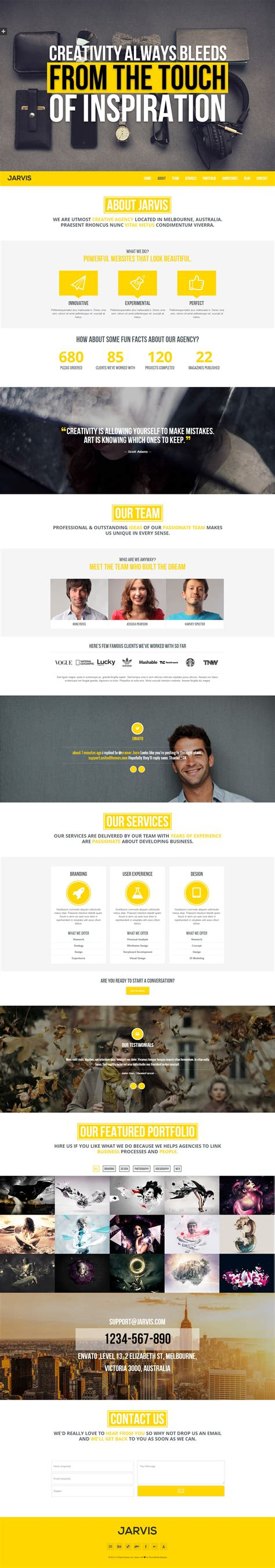 themeforest jarvis jarvis onepage parallax theme by rocknrolladesigns