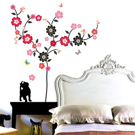 cat wall sticker blossom flowers tree and cat wall stickers wallstickery