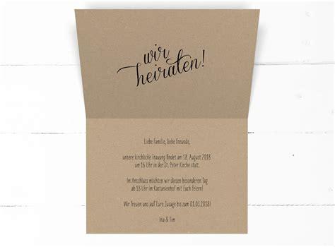 Hochzeitseinladung Kraftpapier by Quot Quot Hochzeitseinladung Kraftpapier