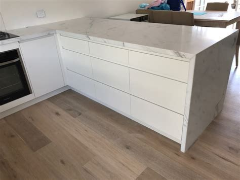 White Thassos Marble Kitchen Benchtop