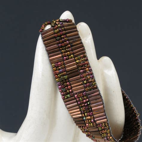 Handmade Loom - handmade loom beaded vintage bugle and seed bead bracelet