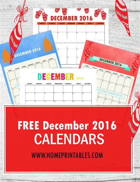 free printable december 2016 calendar home printables