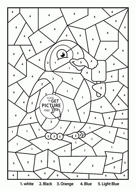 free coloring pages by numbers color by number penguin coloring page for kids education