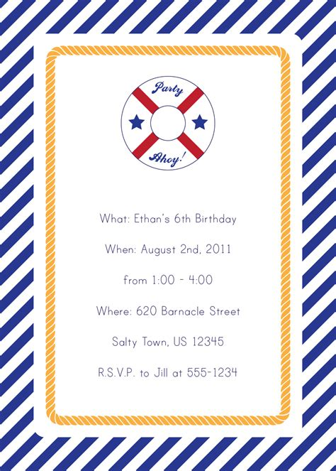 Printable Nautical Invitation Template | 7 best images of free printable nautical invitations