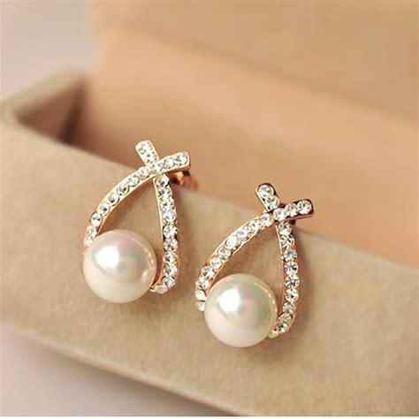 Rhinestone Pearl Earring gold stud earrings pendientes imitation