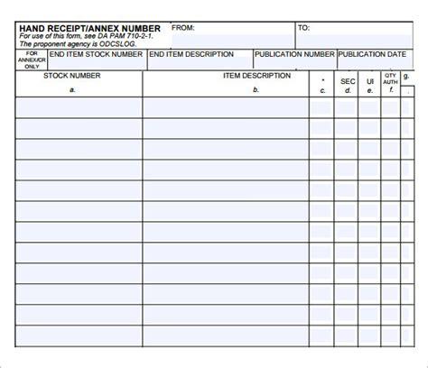 printable 2062 hand receipt 10 printable receipt templates free sles exles