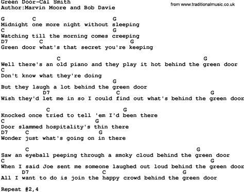 Green Door Lyrics by Country Green Door Cal Smith Lyrics And Chords