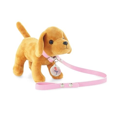 american doll puppy 18 inch doll accessories brown puppy with leash and tag fits american