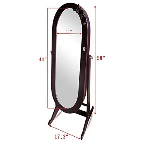 oval mirror jewelry armoire beautiful brown wooden frame oval standing adjustable
