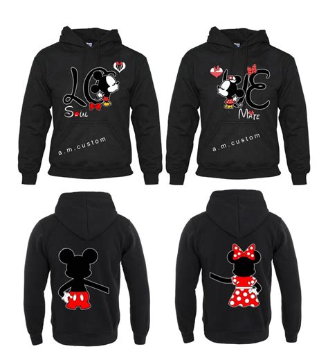 hoodie design for couples mickey and minnie soul mate couple matching funny cute