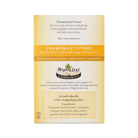 Mighty Leaf Detox Tea Ingredients by Chamomile Citrus Tea By Mighty Leaf Thrive Market