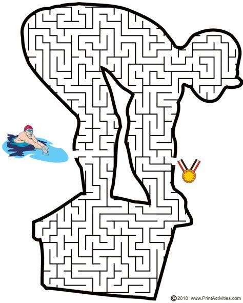 printable hockey mazes summer printable worksheets olympic swimminging maze
