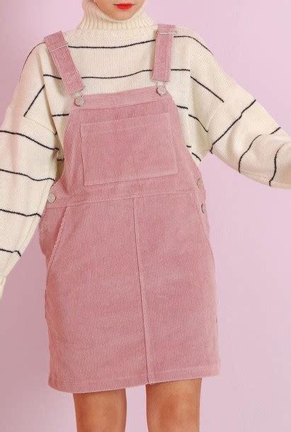 Overall Stripe Blouse dress pink skirt overalls striped shirt stripes white white shirt oversized garden