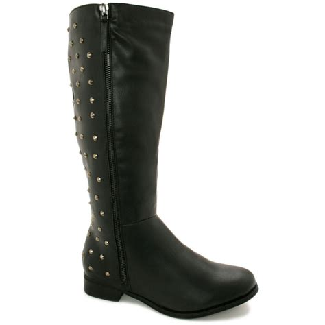 buy shannon low heel stud knee high biker boots black