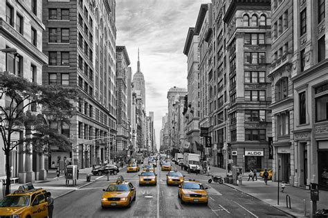 5th avenue yellow cabs nyc photograph by melanie viola