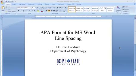 apa format for microsoft word line spacing youtube