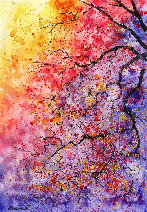 colorful trees colorful watercolor paintings of radiant trees in nature