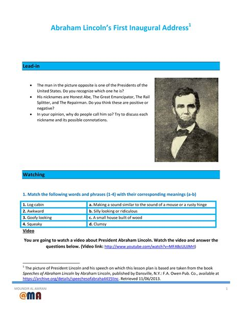 abraham lincoln biography lesson plan movie worksheet abraham lincoln s first inaugural address