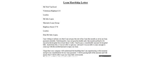 How To Write A Loan Application Letter To The Bank hardship letters business letter exles