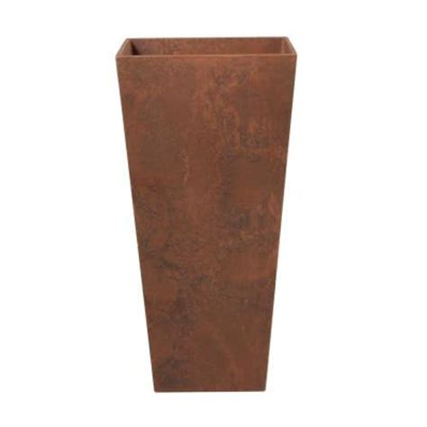 home depot large planters home decorators collection ella 14 25 in square teak resin planter 0508210980 the home depot