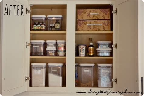 organize cabinets in the kitchen organized baking cabinet living well spending less 174