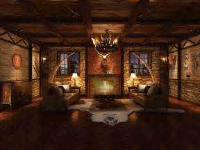 lodge living room hunting lodge interior living room 3d model max