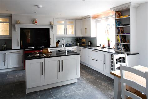 White Kitchen Cabinets Grey Floor Bright Frieling Press In Kitchen Transitional With Grey Flooring Next To Slate Floor