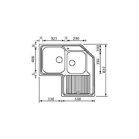 lavello ad angolo misure lavello ad angolo 2 vasche destra o sinistra zenith 83 x
