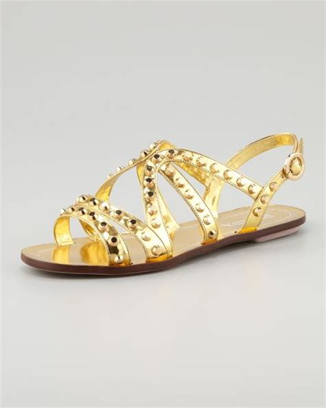 gold strappy flat sandals prada studded strappy flat sandal in gold lyst