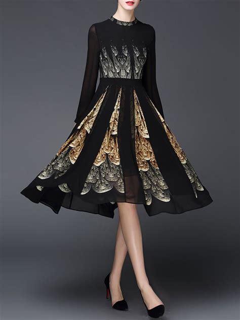long sleeve simple printed   floral midi dress