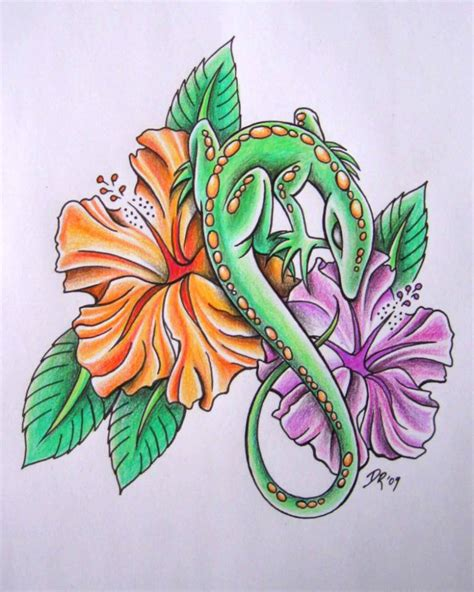 unique flower tattoo designs lizard ideas and lizard designs page 4