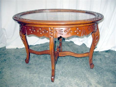 Nice Antique Glass Top Walnut Tea Serving Coffee Table For Antique Glass Top Coffee Table