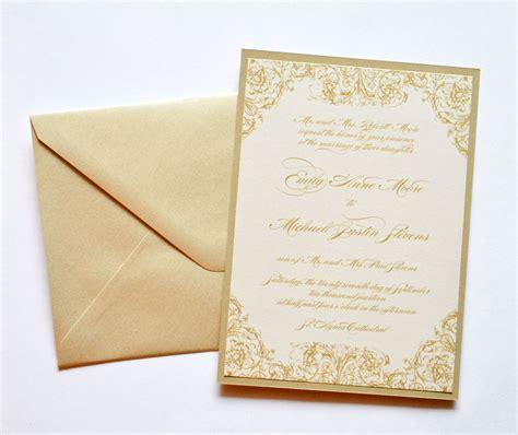gold wedding invitations gold  ivory wedding