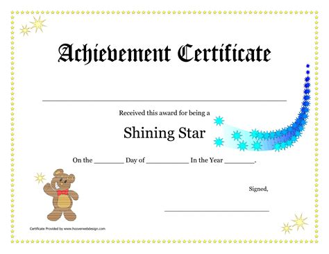 free new printable certificates of achievement template