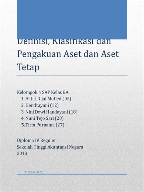 skripsi akuntansi aset tetap pemerintah definisi klasifikasi dan pengakuan aset dan aset tetap