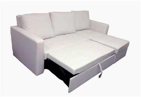 Modern White Sectional Sofa With Storage Chaise Couch Pull Out Sleeper Sofa