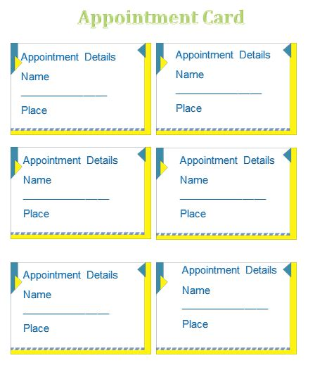 appointment cards templates appointment card template templates for microsoft 174 word