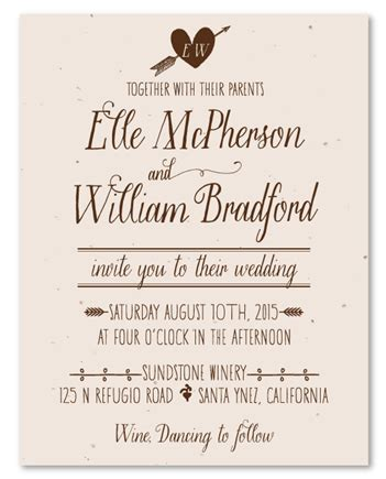 what to say on a casual wedding invitation plantable wedding invitations on seeded paper by